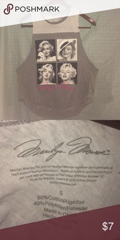 Marilyn Monroe sleeveless t-shirt Size-Small 60% cotton, 40% poly marilyn monroe Tops Tank Tops