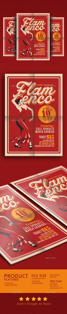 Flamenco Flyer Template PSD. Download here: https://graphicriver.net/item/flamenco-flyer-template/17569690?ref=ksioks
