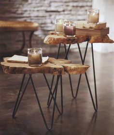 Living Room, Mid Century Modern Hairpin Leg Coffee Table Wood Tabletop Design With Wonderful Material Of The Tree Trunk Coffee Tables Ideas And The Candle In The Glass Like The Aromatherapy And It Is Look So Good With Wooden ~ Unique Creation Of Tree Trunk Coffee Tables