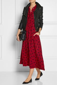 Band of Outsiders printed silk dress, ladylike flats and leather jacket