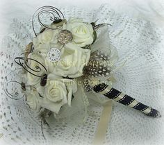 Ivory rose and Vintage button and watch parts Steampunk Bouquet SALE via Etsy