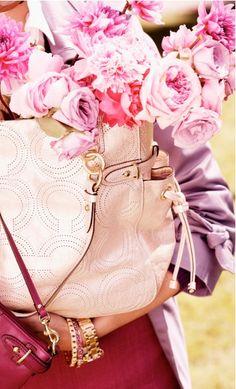 Coach bag, pretty flowers, bangles