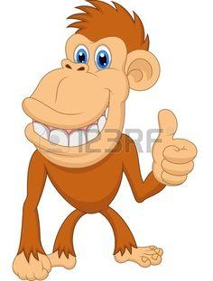 Cute monkey cartoon with thumb up Stock Vector
