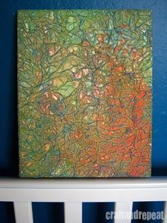A colorful textured canvas that is easy to make! It even has a recycled element! The Supplies 1. canvas 2. tissue paper 3. Mod Podge (or similar) 4. acrylic paint 5. oilpastel (or a very waxy cray…