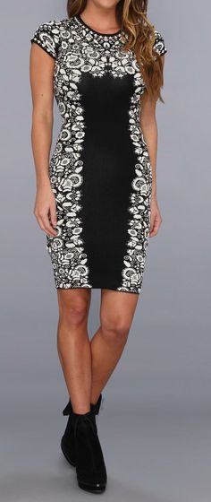 Black & White design on sides and top of dress with front panel in black