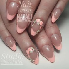 The 110 best Peach colored nails - - Fancy Nails, Pink Nails, My Nails, Peach Nails, Cute Nail Art, Cute Nails, Pretty Nails, Nail Tip Designs, French Nail Designs