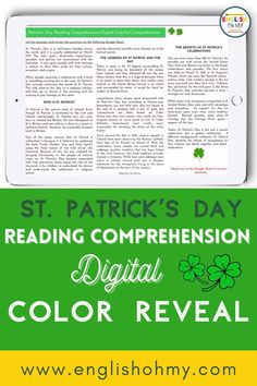 Are you middle school ELA teacher looking for an engaging activity for your middle school students for St. Patrick's Day? This fun activity will have your students complete a reading comprehension passage, answer questions, and complete a digital color by number activity. This St. Patrick's Day activity will have your students asking for more engaging activities like this! #stpatricksdayactivities #iteach678