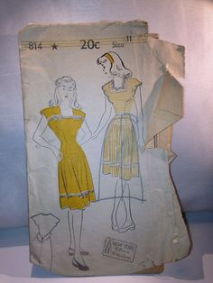 Vintage New York Pattern #814 from 1940's Size 11-19 (VERY HARD TO FIND!)
