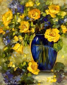 Artists Of Texas Contemporary Paintings and Art - High Altitude Yellow Roses and a North Texas Workshop by Nancy Medina