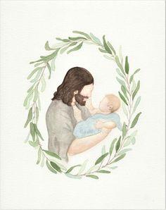 Safe In His Arms - Custom Infant Portrait Images Du Christ, Pictures Of Christ, Portrait Illustration, Watercolor Illustration, Illustration Fashion, Art Illustrations, Fashion Illustrations, Catholic Crafts, Catholic Art