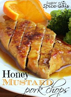 Amazing Pork Chop recipe!Honey Mustard Pork Chops from sugar-n-spicegals.com  #Pork #recipe #chops #honeymustard #glazed #porkchops