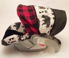 Boutique Infant Boys Car Seat Canopy Car Seat Cover White Red Buffalo Check Rustic Cabin Bear