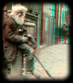 On the Streets of Napoli, Italy anaglyph 3D