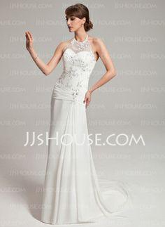 Sheath/Column Halter Watteau Train Chiffon Tulle Wedding Dress With Ruffle Lace Beadwork (002011453) - JJsHouse