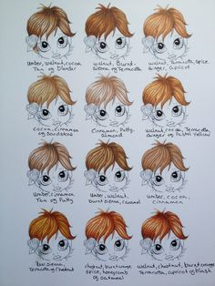 CHECK THIS FOLDER OUT http://pinterest.com/badbam/pro-markers/ Promarker hair colours