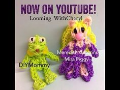 Rainbow Loom MISS PIGGY (Muppets). Designed and loomed by Cheryl Spinelli at Looming WithCheryl. Click photo for YouTube tutorial. 06/17/14.