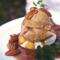 New Orleans Delight (Meringues Topped with Coffee Ice Cream and Praline Sauce)