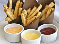 Trio of Ballpark Fries and Dipping Sauces -|The Hopeless Housewife®