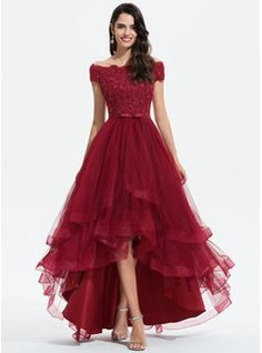 A-Line Scoop Neck Asymmetrical Satin Evening Dress With Beading (017153618) - JJ's House Discount Formal Dresses, Cheap Formal Dresses, Formal Gowns, Fall Dresses, Tulle Bridesmaid Dress, Lace Wedding Dress, Wedding Dresses, Tulle Wedding, Grad Dresses Short