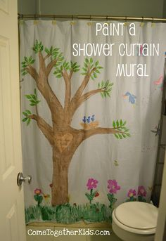 Paint a Shower Curtain Mural - fun activity, cheery home decor (and it only costs $1!!)