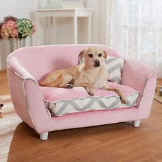 Dog Bed Couch Chevron Pink Pet Sofa Draft Free Sleeping New Home Canine Supplies