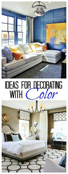 Fun ideas on decorating with color! Amazing house tour! Love the blue wall with floor to ceiling molding! thistlewoodfarms.com