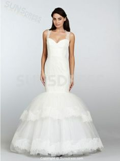 Sexy Spaghetti Strap Merimaid Tulle Long Layered #WeddingDresses