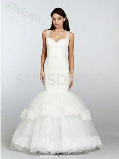 Sexy Spaghetti Strap Merimaid Tulle Long Layered #WeddingDresses