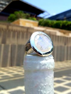 Large Capri Faceted Circle Cocktail Ring #WhiteMoonstone #White #Moonstone #Ring #Sikara #Italian #Inspiration