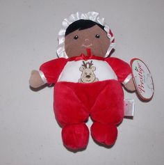 Prestige Baby Plush Doll Rattle Lovey Black Hair Skin Red Reindeer Christmas New #PrestigeBaby