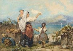 Karel PHILIPPEAU (1825-1857) Jeunes Italiennes au bord de la mer Aquarelle. Signée en bas à droite. Art En Ligne, Objet D'art, Oeuvre D'art, Painting, Watercolor Sea, Contemporary Art, Artist, Painting Art, Paintings