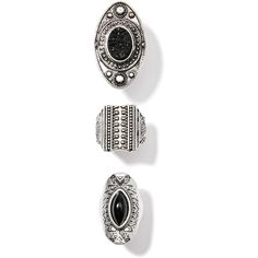 3 Piece Silver Carved Ring Set Gems Black ($18) ❤ liked on Polyvore featuring jewelry, rings, silver gemstone rings, carved jewelry, chunky silver jewelry, chunky silver rings and chunk jewelry