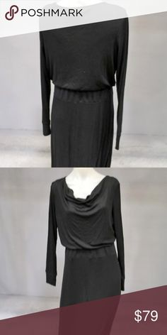 """NWT! {Chico's} Cowl Long Sleeve Maxi Dress [1] Brand: Chico's  -Size: 1 or 4 or M -NWT! -Perfect for fall/winter!! -Bust: 18"""" (pit to pit) -Waist: 16"""" -Length: 56"""" -14"""" Slit! -So flattering!  -This dress is a jersey style fit that is dual lined and has stretch! Chico's Dresses Long Sleeve"""