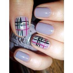 lilac and black tartan nail art