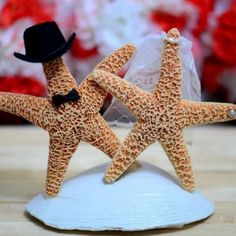 Starfish Wedding Cake Topper May Be Able To Sub Yellow Seaglass For The Blue