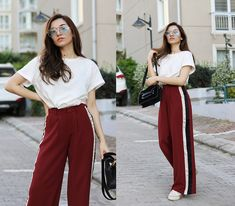 Melike Gül - Mango T Shirt, Romwe Trousers, Zaful Bag, Romwe Glasses - Brick Red Trousers | LOOKBOOK