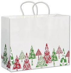 Fun Firs Shoppers 16 x 6 x 12 1/2.   ◾100 bags per case. ◾Made of 68# bleached white paper with a varnish finish. ◾40% post-consumer waste. ◾Recyclable. ◾White twisted-paper handles. ◾Serrated-edge top. ◾This product can be personalized with your business information or logo. Call 800.379.7969 for assistance. ◾Coordinate with other items in the Fun Firs Collection. ◾Eco-Friendly.