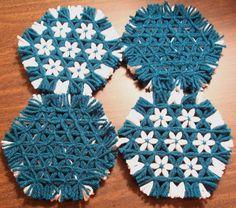 Hexagon Lap Weave Coaster Set. Etsy.