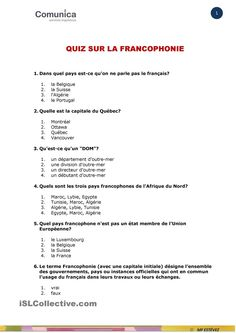 LA FRANCOPHONIE-QUIZ