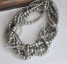 SET Chunky Trend Silver Glass Pearls   by HMbySemraAscioglu