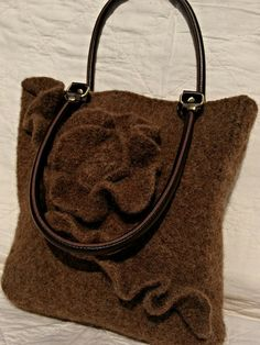 Hand Knitted, Felted Wool, Briar Heather Rose Shoulder Purse
