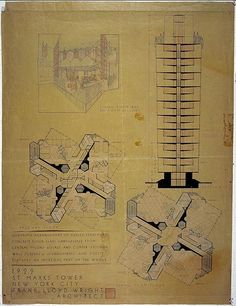 Frank Lloyd Wright (American, 1867–1959). St. Mark's-in-the-Bouwerie Tower, New York. 1927–31. Interior perspective, section, and plans of t...