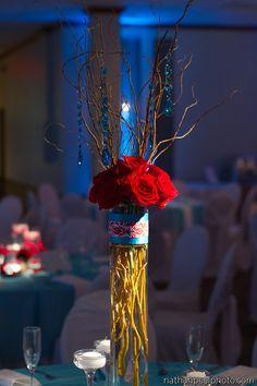 Red wedding Tiffany blue wedding  Wedding centerpiece The Emerald Ballroom The Madison Event Center
