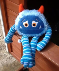 Plush stuffed Monster toy Made in the UK. Blue by MonsterOrphanage