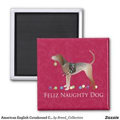 American English Coonhound Christmas 2 Inch Square Magnet ❤  Find more Breed Collection here…. ❤ BreedCollection.com ❤ TriPodDog.Etsy.com ❤ TriPodDogDesign.RedBubble.com ❤ http://www.zazzle.com/breed_collection