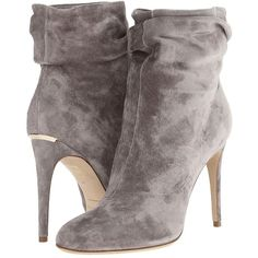 Burberry Epworth ($895) ❤ liked on Polyvore featuring shoes, boots, ankle booties, ankle boots, booties, heels, mid grey melange, slouch ankle boots, short boots и high heel ankle boots