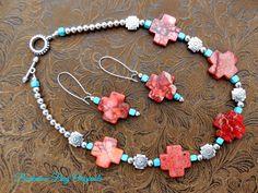 Coral Cowgirl Necklace Set A BuckarooBay.com Original Buckaroo Bay Cowgirl Jewelry & Western Accessories