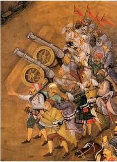 Mughals ruled over Hindustan with the might of their Guns. Mughal Miniature Paintings, Mughal Paintings, Ancient Indian Paintings, Mughal Empire, India Art, Indian Artist, Islamic, Artworks, History