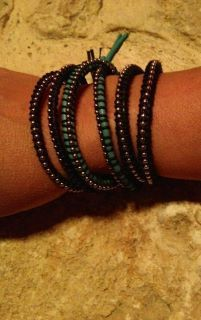 Tonight I am wearing 3 WrappedInHim double bracelets (2 double black wrapped with black cord, and 1 double turquoise with black cord)   Only $12 each great quality, super stylish AND proceeds are for mission trip to the Amazon! www.facebook.com/...