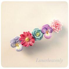 tiny tiny crocheted flowers お花のバレッタ レース編み